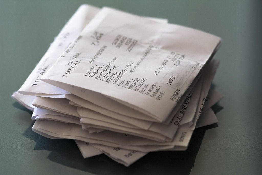 Business expenses receipts