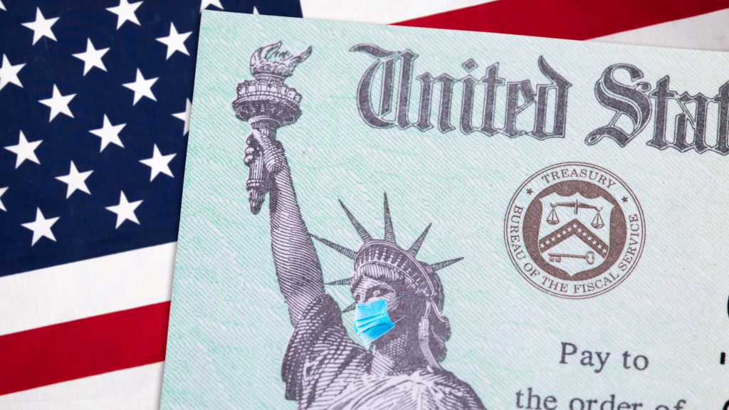 stimulus check flag statue of liberty with mask